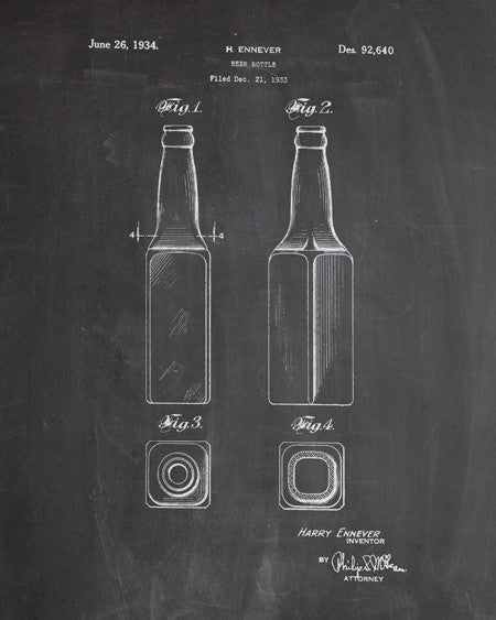 Beer Bottle Patent Print - IndustrialPrints