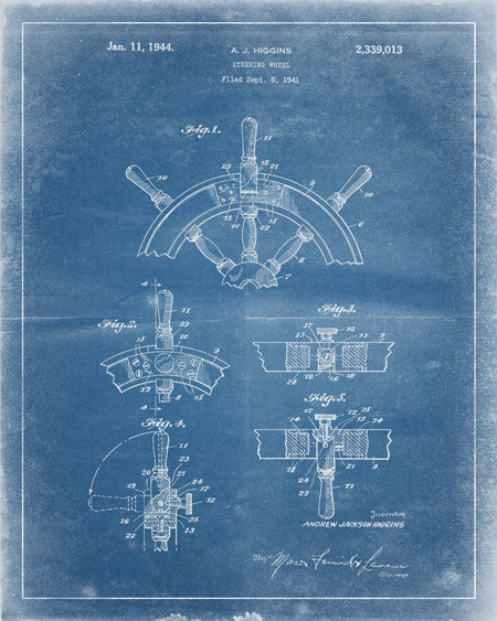 Boat Steering Wheel Patent Print - IndustrialPrints