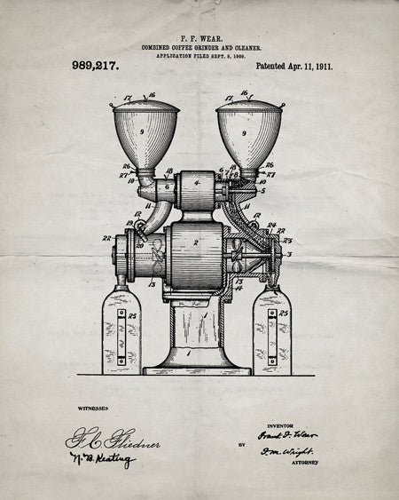 Coffee Grinder Patent Print - IndustrialPrints