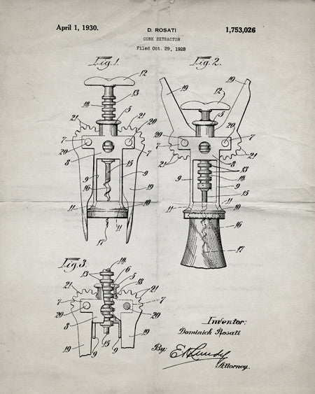Corkscrew Wine Bottle Opener Patent Print - IndustrialPrints