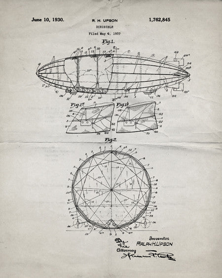 Dirigible Airship Patent Print - IndustrialPrints