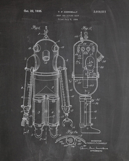 Deep Sea Diving Suit Patent Print - IndustrialPrints