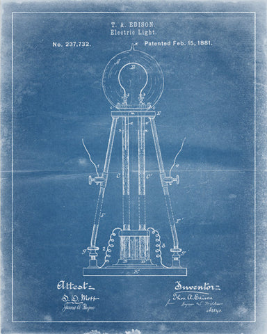 Edison Light Bulb Patent Print - IndustrialPrints