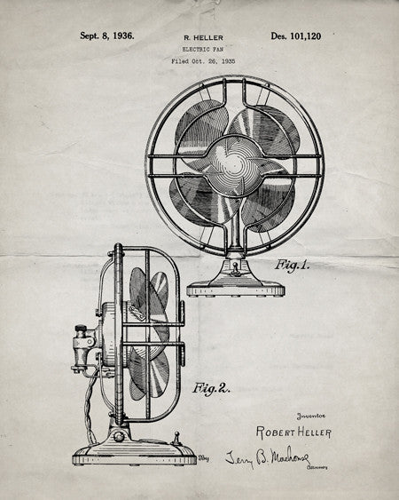 Electric Fan Patent Print - IndustrialPrints