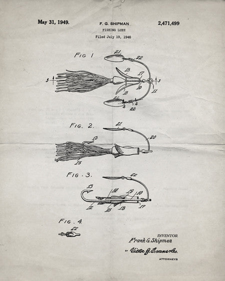 Fishing Lure Patent Print - IndustrialPrints