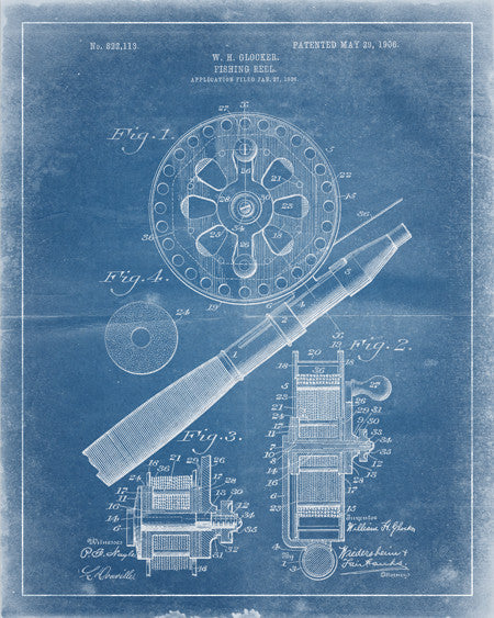 Fishing Reel Patent Print - IndustrialPrints
