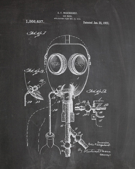 Gas Mask Patent Print - IndustrialPrints