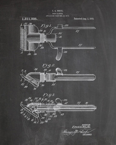 Hair Clippers Patent Print - IndustrialPrints