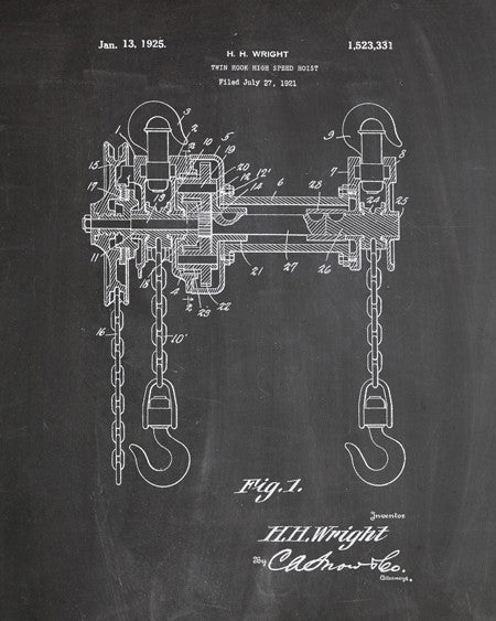 Chain Hoist Patent Print - IndustrialPrints