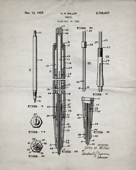 Mechanical Pencil Patent Print - IndustrialPrints