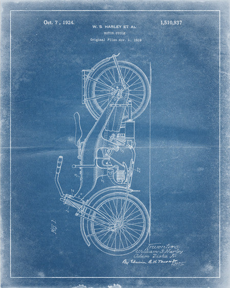 Harley Motorcycle Patent Print - IndustrialPrints