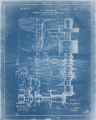 Paper Clip Machine Patent Print - IndustrialPrints
