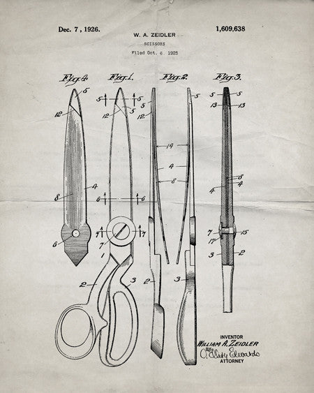 Scissors Patent Print - IndustrialPrints