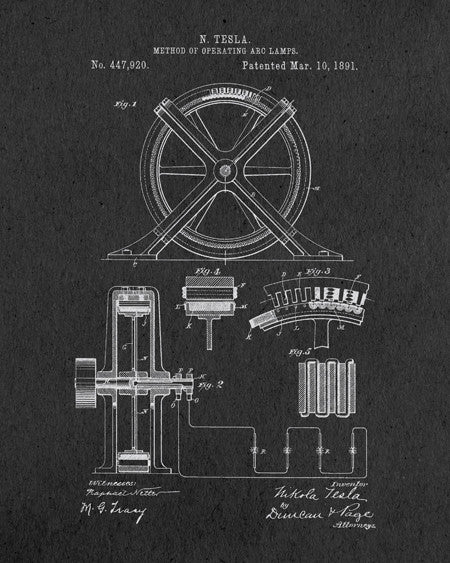 Tesla Arc Lamp Patent Print - IndustrialPrints