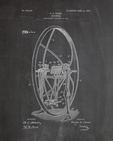 Unicycle Patent Print - IndustrialPrints