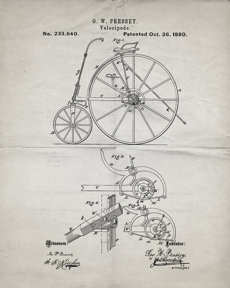 Vintage Bicycle Patent Print - IndustrialPrints