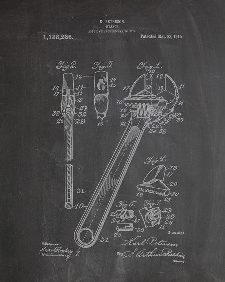 Monkey Wrench Patent Print - IndustrialPrints
