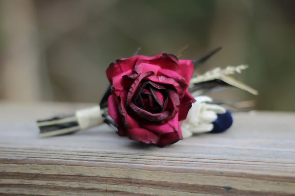 Sandy Pat Navy Blue and Burgundy Boutonniere - Pick a Bloom LLC