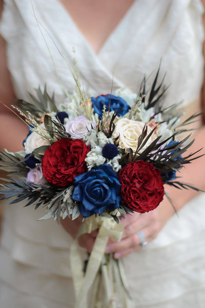 Sandy Pat Navy Blue and Burgundy Bridal Bouquet - Pick a Bloom LLC