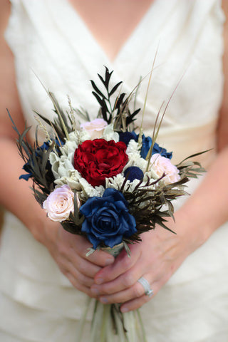 Sandy Pat Navy Blue and Burgundy Bridesmaid Bouquet - Pick a Bloom LLC