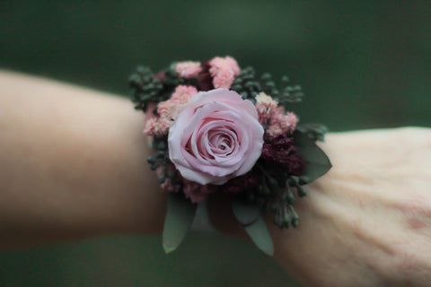 Salina Belle Wrist Corsage With A Preserved Blush Rose - Pick a Bloom LLC
