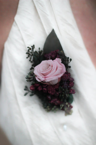 Salina Belle Pin On Corsage With A Preserved Blush Rose - Pick a Bloom LLC