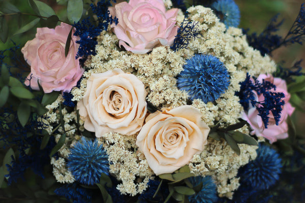 Rose Gold and Navy Blue Bridal Bouquet - Pick a Bloom LLC