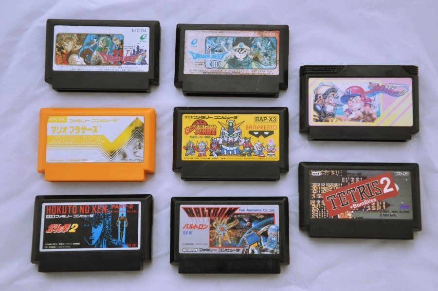 Game | Nintendo Famicom | Bundle Mixed Mario Tetris Fighting Dragon Quest x 8