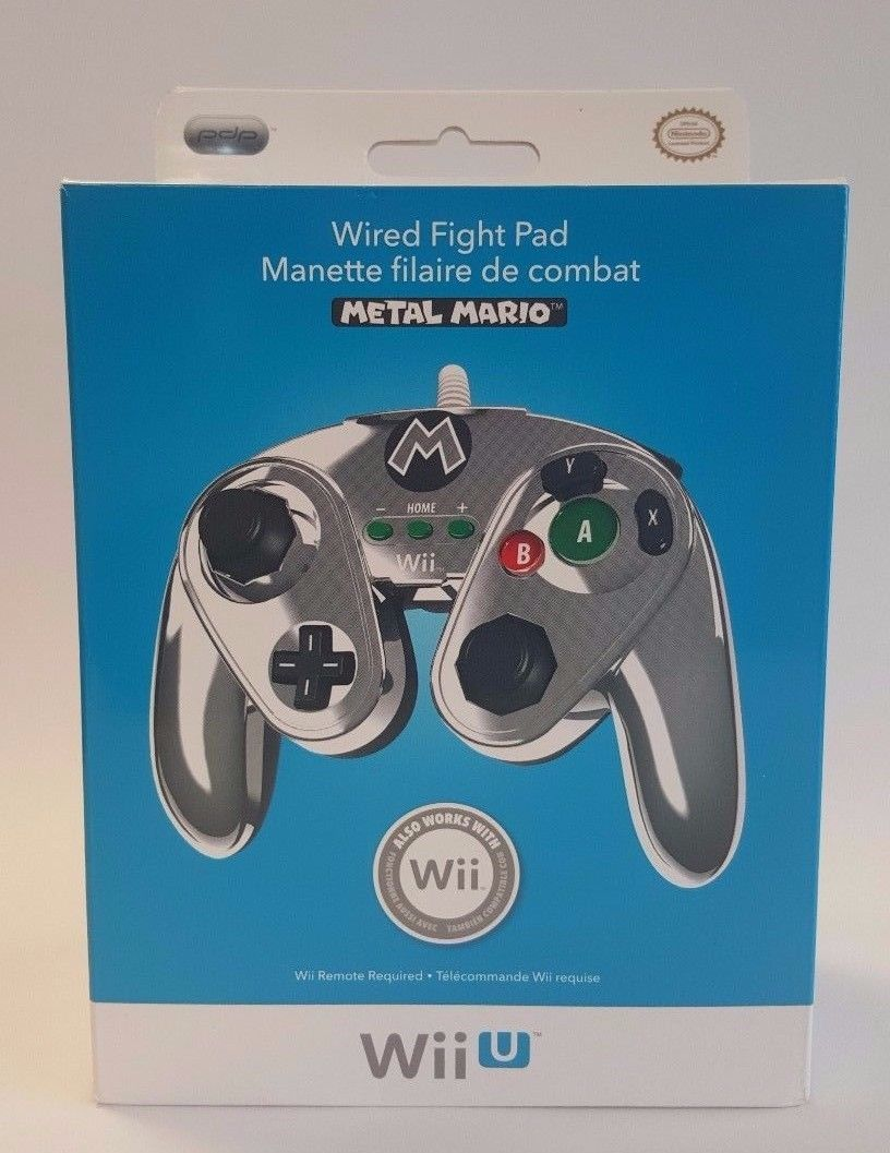 Controller Nintendo Wii U Metal Mario Wired Fight Pad Classic Cont