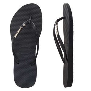 Slim Metal Logo Crystal Black/Gold Thongs