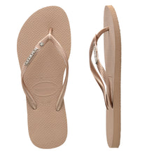 Load image into Gallery viewer, Slim Metal Logo Crystal SW Rose Gold/Silver Thongs