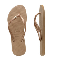 Load image into Gallery viewer, Kids Slim Crystal Rose Gold Thongs