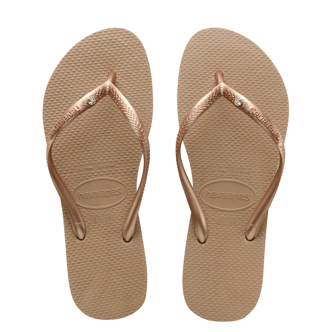 Kids Slim Crystal Rose Gold Thongs