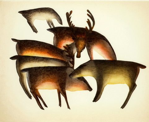 2012 CARIBOU GATHER by Mayoreak Ashoona