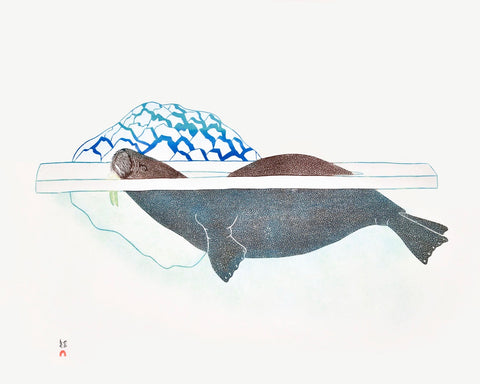 1989 Walrus in Pressure Ice by Kananginak Pootoogook