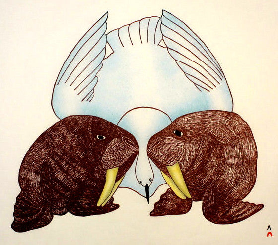 1994 WALRUS AND BIRD by Mayoreak Ashoona