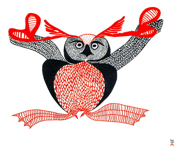 1998 UPPIRUQPALLIAJUK (TRANSFORMING TO AN OWL) by Mayoreak Ashoona