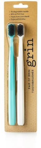 Charcoal- infused Biodegradable Toothbrush (Soft Twin Pack) - Grin Natural