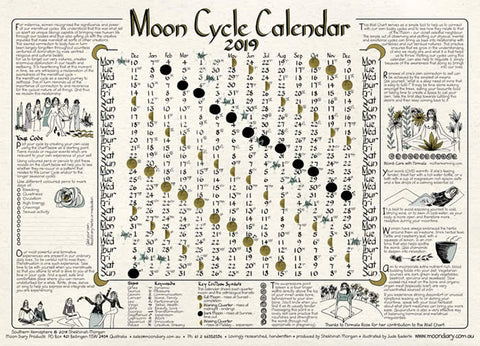 Calendar- Moon Cycle Wall Chart 2019