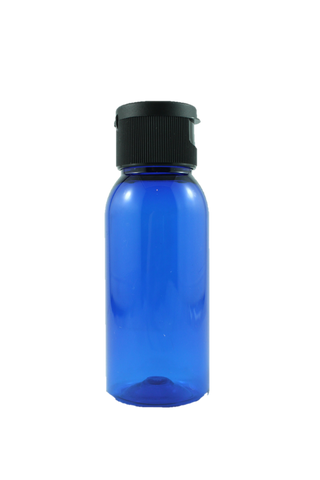Bottle-Blue PET plastic with Black Flip top-50ml