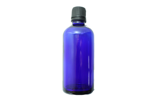 Bottle-Blue Glass with black screw cap-100ml