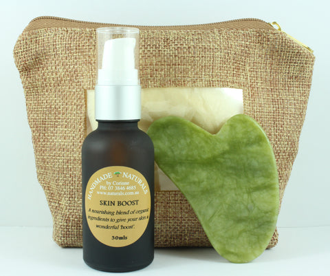 Skin Boost Serum and Jade Guasha Massage Tool Set by Handmade Naturals