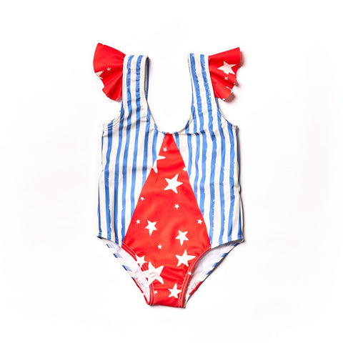 Noe and Zoe Blue Striped Swimsuit