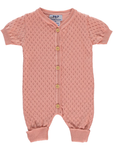 P & P Pink Knit Pointelle Romper