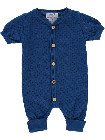 P & P Blue Knit Pointelle Romper