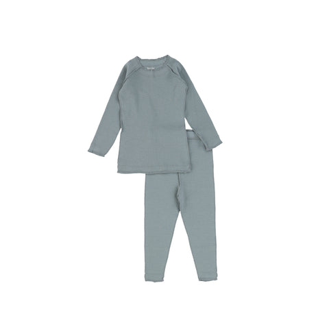 Bee and Dee Ribbed Seafoam Pajamas