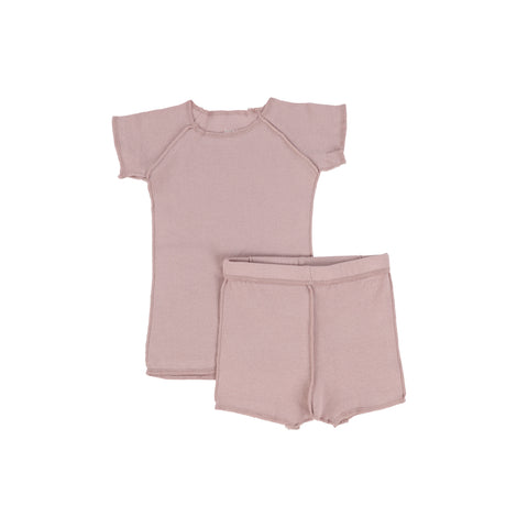 Bee and Dee Ribbed Orchid Shorts Set