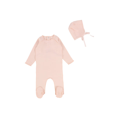 Bee and Dee Ribbed Soft Pink Footie with Bonnet