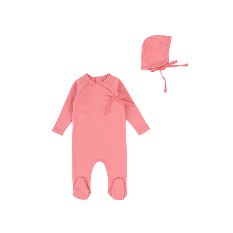 Bee and Dee Rose Pink Wrap Footie with Bonnet