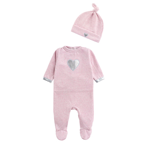 Coton Pompom Pink Shimmery Heart Footie Set